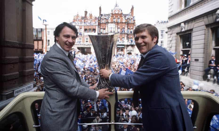 Bobby Robson and his assistant Bobby Ferguson show off the Uefa Cup to fans in Ipswich.