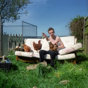 Stef and the free-range hens. Dymchurch, Kent.