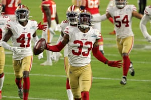 Tarvarius Moore of the San Francisco 49ers celebrates after intercepting a pass by Patrick Mahomes of the Kansas City Chiefs during the third quarter as the 49ers seize control of the game by ten points, 20-10.