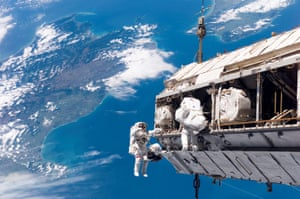 STS-116 Mission Specialists Robert L. Curbeam, Jr. (left) and Christer Fuglesang participate in the first of the mission's three planned sessions of extravehicular activity as construction resumes on the International Space Station.24th March 2008 Image credit: NASA