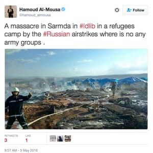 Tweet reporting airstrike