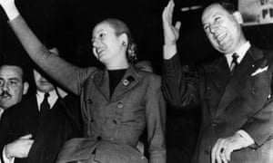 Juan Perón, and his wife, Eva Perón saluting a demonstration in their honour at Buenos Aires, 1951.