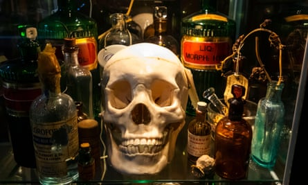 Skull and drug bottles at the Old Operating Theatre Museum