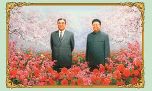 A North Korean stamp shows Kim Jong-il and his father Kim Il-sung, the founder of North Korea, in a field of Kimjongilias, a kind of begonia.
