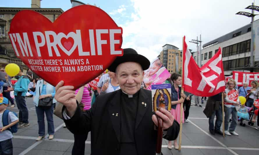 An anti-abortion protest in Belfast: Northern Ireland is the only part of the UK where the 1967 Abortion Act does not apply.