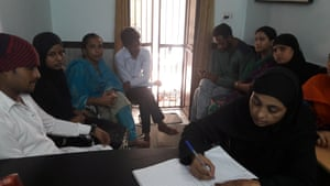 Jahanara files a report on a feuding couple (left).
