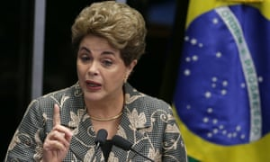 Brazil's suspended president, Dilma Rousseff, speaks at her own impeachment trial, in Brasília on Monday.
