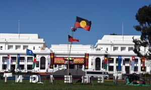 The Aboriginal Embassy in front of Old Parliament House in Canberra.
