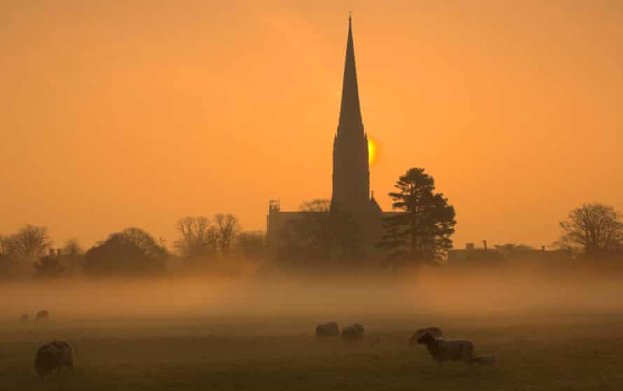 Salisbury Cathedral at sunrise