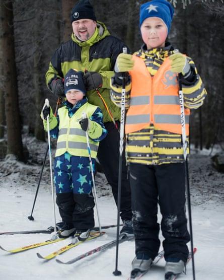 Mika Ruusunen skiing in Kangasala, Finland