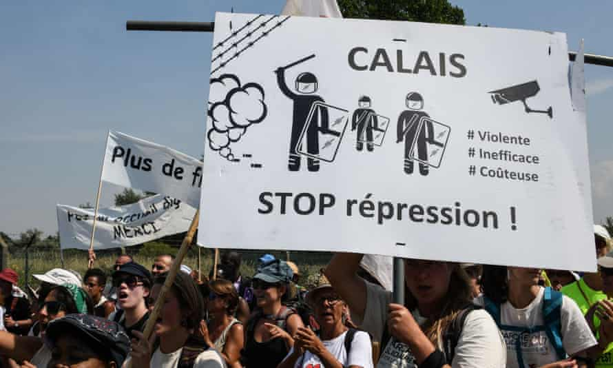 A march in support of migrants in Calais.