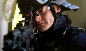 A French anti-crime brigade officer with a new German HK G36 assault rifle.