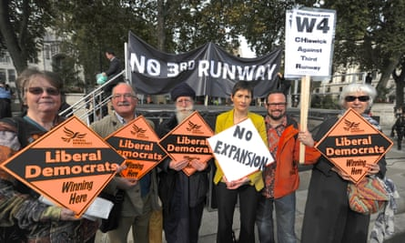 Caroline Pidgeon joins protest against third runway at Heathrow.