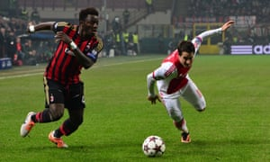 Milan's Sulley Muntari contests possession with Ajax's Bojan Krkirc in December 2013. The match is still relevant to current coefficients