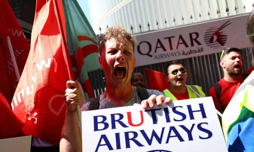 Members of Unite outside Qatar Airways' London office during a protest against BA's wet leasing
