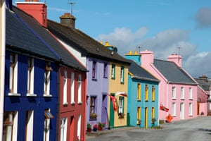 Street of brightly coloured house in Eyeries, Ireland
