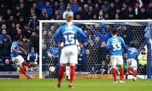 Gareth Evans of Portsmouth scores the opening goal.