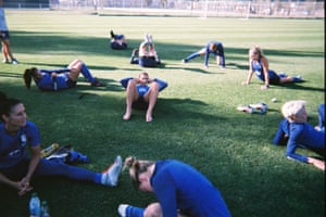 Members of the USA team, including (from left) Ali Krieger, Alex Morgan, Tobin Heath, Allie Long and Megan Rapinoe, in pre-tournament training in San José, California in May, taken by Kelley O'Hara
