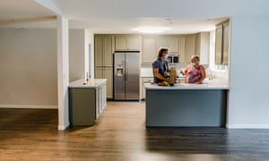 Jim and Leonore Wilson unpack groceries in their new rental house in Napa.