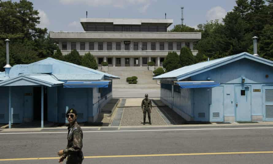 South Korean soldiers at the border village of Panmunjom in the DMZ.