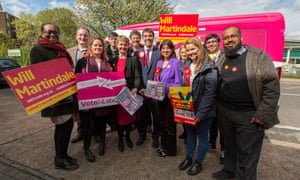 Will Martindale, Labour candidate for Battersea in 2015, with supporters, including Yvette Cooper