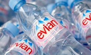 Bottles of Evian water, a Danone product.