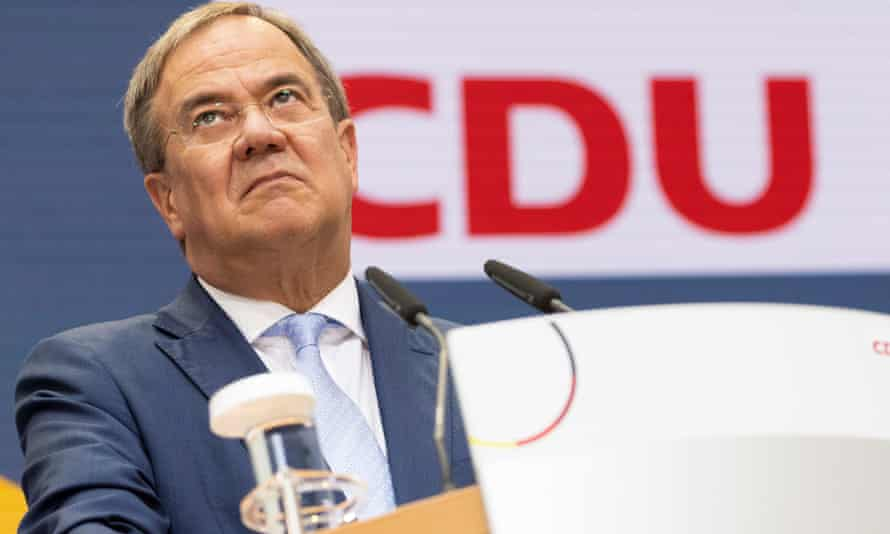 Armin Laschet at the press conference at CDU headquarters on Monday.