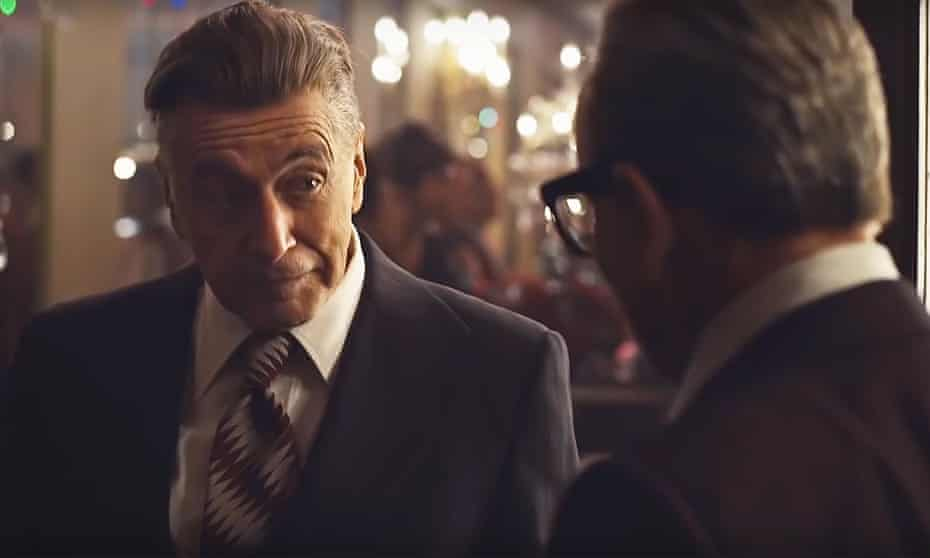 'Encounters in a subdued steakhouse light periodically explode into violence or dreamlike scenes of choreographed catastrophe' … Al Pacino as Jimmy Hoffa in The Irishman (2019).