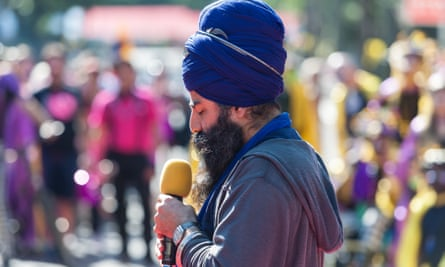 A Sikh leader speaks at the Notting Hill Carnival, London, 2017