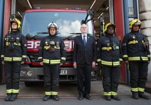 Jeremy Corbyn joins fire fighters at Islington Fire Station, north London