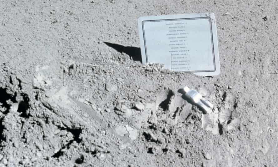 Paul Van Hoeydonck's Fallen Astronaut and a plaque bearing the names of 14 men who died in the pursuit of space exploration.