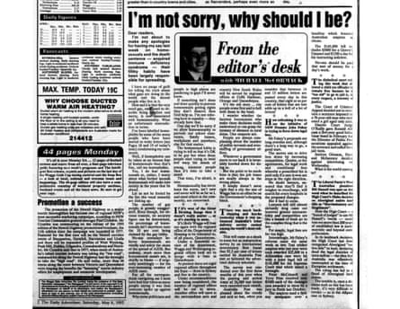 Editorial in The Daily Advertiser by Michael McCormack from May 8, 1993.