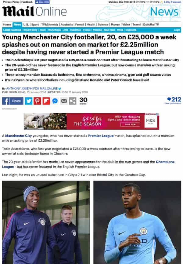 A story on the Daily Mail website about a Manchester City footballer Tosin Adarabioyo.