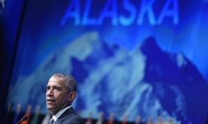 US president Barack Obama at the Glacier conference in Anchorage, Alaska.