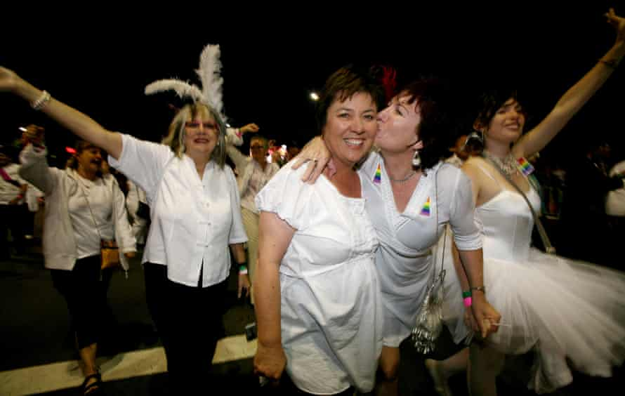 Some of the 1978-ers marching in the Gay and Lesbian Mardi Gras in 2008.