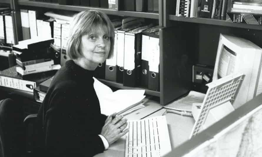 Christine Whittaker at her desk in 1996. She lectured around the world about the value of archive film and its proper use