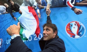 The then Italy coach Antonio Conte celebrates with fans at Euro 2016