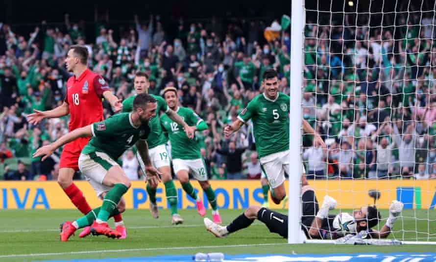 Shane Duffy forces the ball over the line to avert disaster at the hands of Azerbaijan.