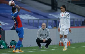 Marcelo Bielsa watches on during Leeds' defeat at Crystal Palace.