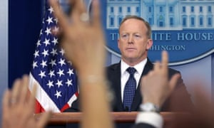 Sean Spicer conducts a White House daily briefing. His combative style has made the briefings must-see TV during the Trump era.