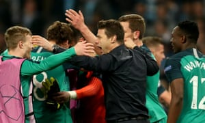 Mauricio Pochettino celebrates after the second leg against Manchester City.