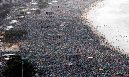 Pope Francis, Copacabana beach, Rio de Janeiro, Brazil, in 2013