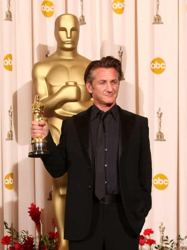 Bootylicious … Sean Penn with his award for Milk in 2009.