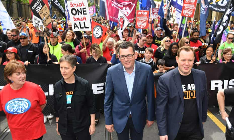 The ACTU secretary, Sally McManus, and the Victorian premier, Daniel Andrews, at the march in Melbourne