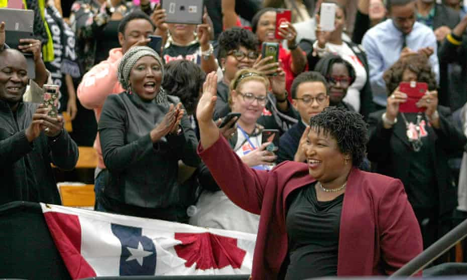 Stacey Abrams campaigns in Atlanta.