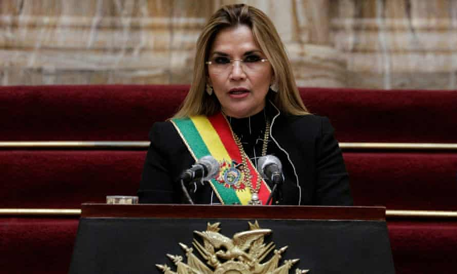 Jeanine Añez in La Paz, Bolivia, on 6 August 2020. Añez headed a conservative administration that took power after Morales resigned in November 2018.