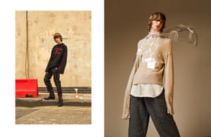 Right: Top, £560, by Vetements, from mrporter.com. Track pants, £610, and boots, £2,675, by Vetements Left: Knit, £185, shirt, £100, and trousers, £175, by Topman Design. Scarf, stylist's own
