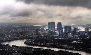 Dark clouds above London's financial district
