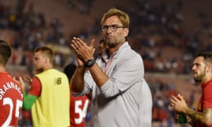 Jürgen Klopp salutes Liverpool's US-based supporters following the 1-0 defeat to Chelsea in Los Angeles