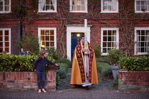 11 April: At 8pm on Holy Saturday, the Rev Canon Aidan Platten steps out of his home to light the paschal candle from the Easter fire outside Norwich Cathedral. For only the second time in its 900-year history, the cathedral is closed.
